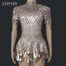 Shining Lovely Sequins Mini Dress Costume Celebrate Rhinestone Bodysuit Birthday Silver Dresses Sexy Nightclub Leotard