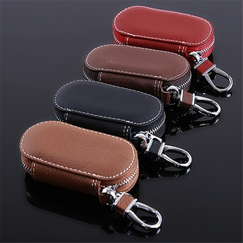 Leather Car Key Wallets Men Key Holder Housekeeper Keys Organizer Women Keychain Covers Zipper Key Case Bag Unisex Pouch Purse