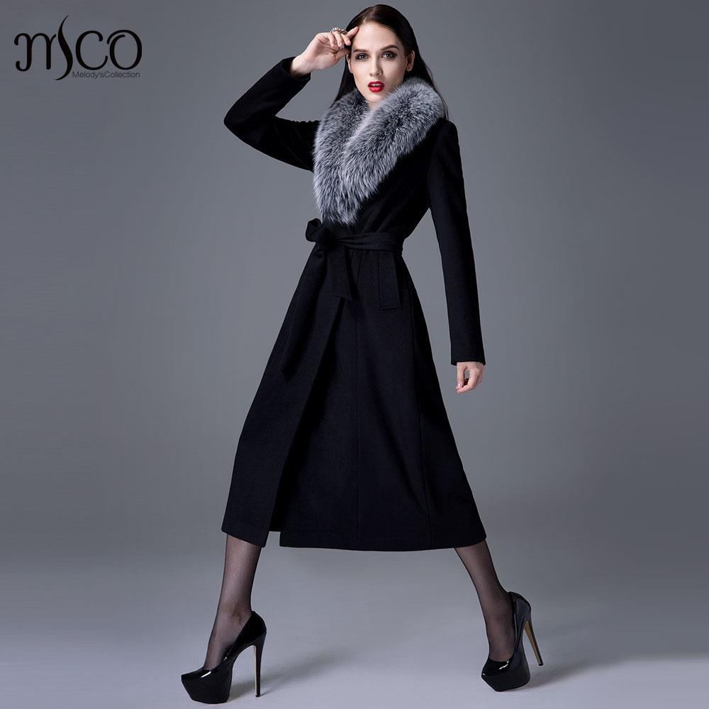 2016 Winter New Arrive High Quality Women Fox Fur Collar Cashmere Wool Warm Trench Noble Sashes Slim Long Maxi Coat Female