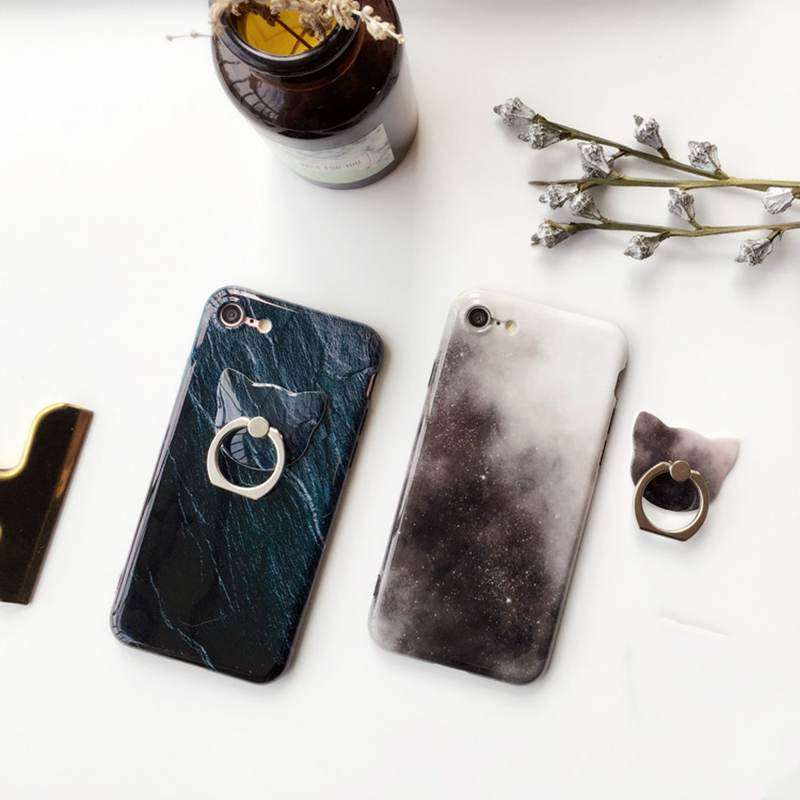 Beautiful Space Night Star Case Cover for iPhone 6 / 6s / 7 plus All-inclusive Soft TPU Gel with Ring Holder Glossy Back Capas