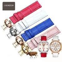 ISUNZUN WatchBand For Tissot 1853/T050 Women Genuine Leather Watch Straps 16MM Leather Watch Strap Brand Watchbands