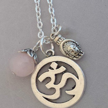 Fashion Vintage Silver Buddhaom Ohm OM Yoga Hindi Omkara Symbol Charms Pendants Necklace Collar Jewelry For Women Gift