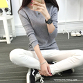 AliExpress new promotional ladies long-sleeved sweater hedging autumn autumn wild solid color sweater Europe