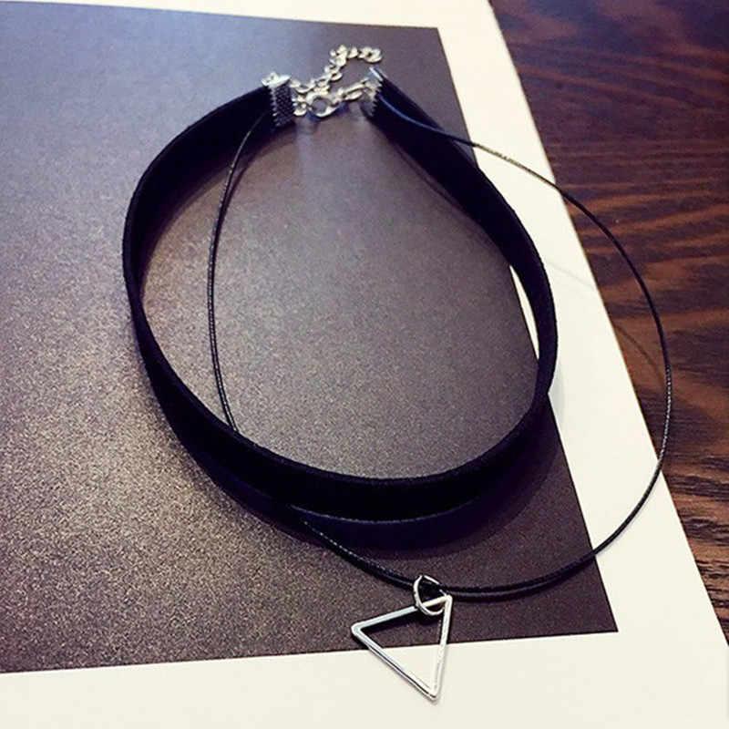 Wielowarstwowe Chokers naszyjniki dla kobiet trójkąt koło geometryczny naszyjnik Collares biżuteria Bijoux Colar