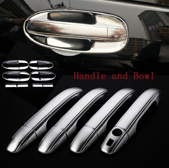 DEE Chrome Side 4 Door Handle Bowls Cover Frame Trim for Mercedes Benz V-Class V260 V260L W447 2014 2015 2016 Car stickers nitro triple chrome plated abs mirror 4 door handle cover combo