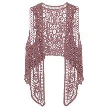 Asimétrico Floral Crochet Chaleco de punto chaqueta de verano 2018 de Otoño  de las mujeres Retro sin mangas Cardigan damas borda. 582d52313cd3
