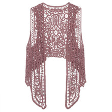 Asymmetric Floral Crochet Knitted Vest Jacket 2018 Summer Autumn Women Retro Sleeveless Cardigan Ladies Embroidery Waistcoat(China)