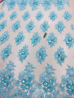 Fashion Hot selling African Sequins Teal lace Trim High Quality french Tulle lace fabric for Elegant women dresses