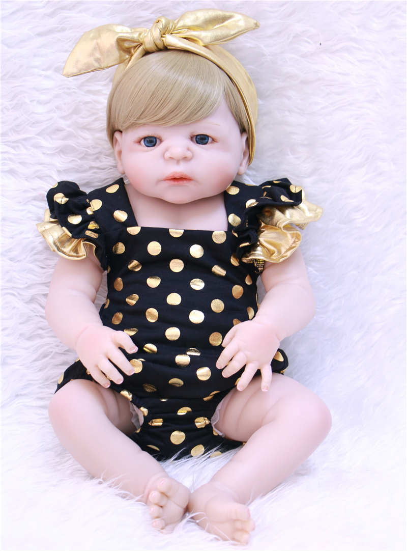 Real full body silicone reborn baby dolls Toys 22 Newborn girl blond hair wig magnetic pacifier children Gift  bonecas