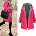 New Women Casual Basic Autumn Winter Hoodies Sweatshirts Top Coat Hooded Long sleeve cardigan pocket Plus Size