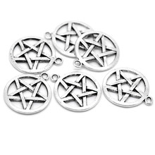 100Pcs Free Shipping Wholesale Hot New DIY Silver Tone Pentagram Round Charm Pendants Fashion Jewelry 29mmx25mm