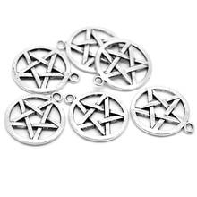 100Pcs Free Shipping Wholesale Hot New DIY Silver Tone Pentagram Round Charm Pendants Fashion Jewelry 29mmx25mm