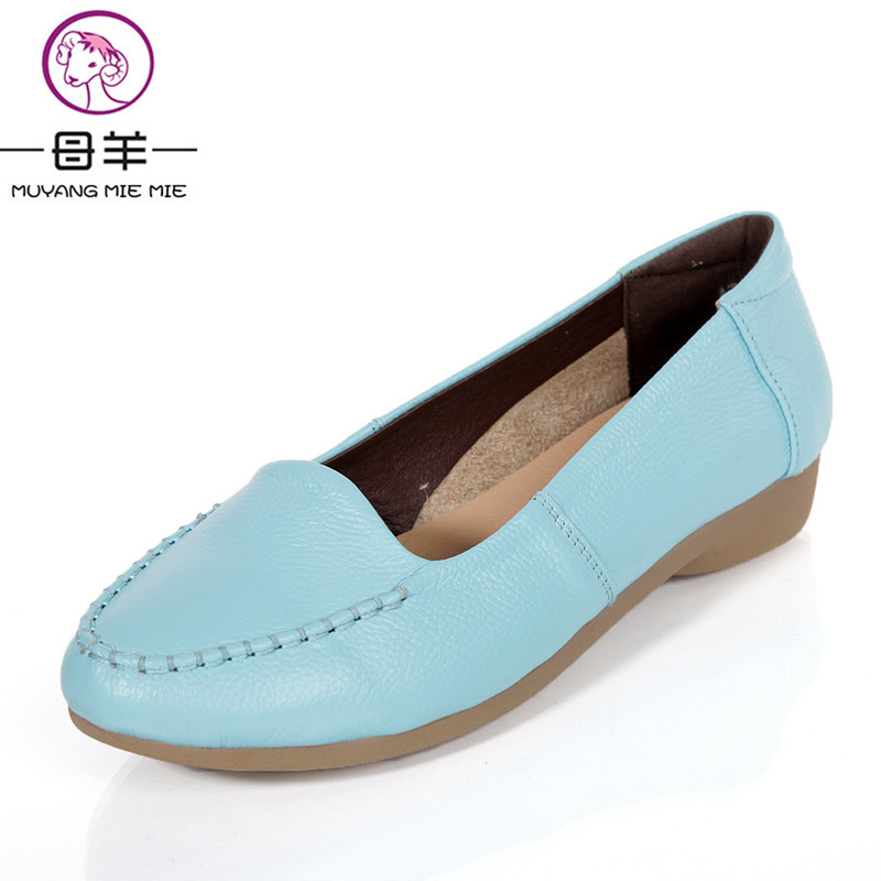 MUYANG китайский Бренд женщины Натуральная кожа Весна плоским свободного покроя обувь женщины красочные обувь женщины квартиры