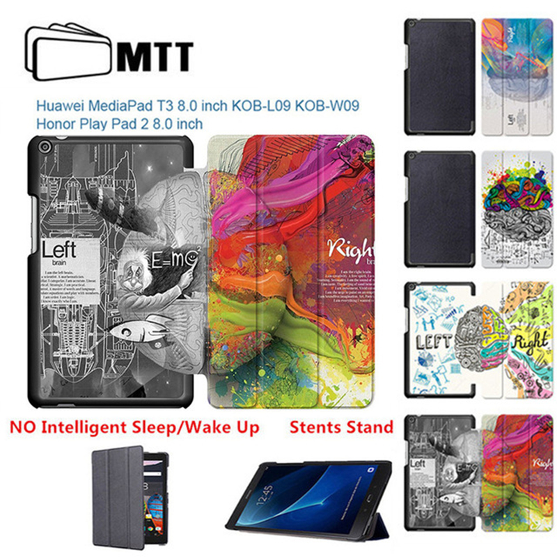 MTT Left Right Brain Painted slim PU leather case for Huawei T3 8.0 2017 Tablet protector stand folio cover mediapad T3 8'' case