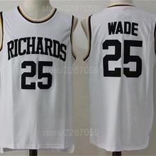 13ed49d9b Ediwallen Men Dwyane Wade 25 High School Basketball Highlights Of Richards  Jerseys White Color Stitched Sale