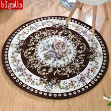 Luxury Round Carpet For Living Room Jacquard Classical Non-slip Floral Floor Mats Bedroom Kids Play Water Absorption Area Rugs(China)
