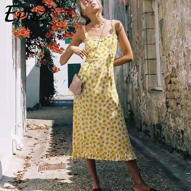 Vintage <font><b>yellow</b></font> <font><b>sunflower</b></font> <font><b>dress</b></font> women sexy spaghetti strap long <font><b>dress</b></font> Boho chiffon party <font><b>dresses</b></font> korean beach vestidos 2019 image