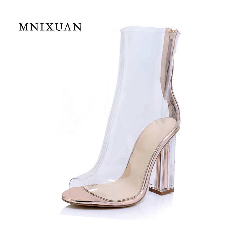 Fashion 2017 summer new women shoes sandals boots transparent shoes high block heels sexy ladies solid shoes plus size 34 41 42 2017 new european and american romantic pop black magazine cool shoes sexy fashion hollow women boots fashion summer boots