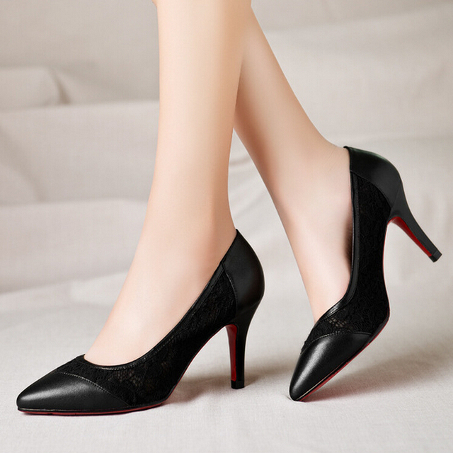 d89cb0b17db5 Very Beautiful Classic Sexy Black High Heels Red Bottom Lace And Genuine  Leather Wedding Party Pumps For Women Free Shipping