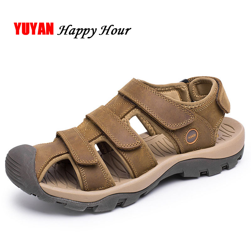 e4d64afb18389 Beach Thick Sole Men Sandals Fashion Shoes Shoes 2018 Genuine Beach New  Leather Fashion Brand K229 ...