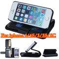 Capa de couro, 4s / 5C / 5 G Wallet stands PU Man Business Case para iPhone 4 / 4S / 5C / 5 / 5S com 6 titulares de cartão de aleta carcaça do telefone