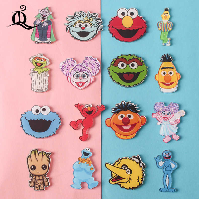 Sesame Street 1 PCS Painting cartoon mix skeleton for Clothing Acrylic Badges Kawaii Icons on The Backpack Pin Brooch Badge Z66