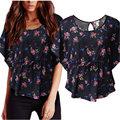 Blusas Femme 2016 Verão Das Senhoras Das Mulheres Casual O pescoço Curto Batwing Luva Da Cópia Floral Blusa Solta Camisas Túnica Plus Size topos