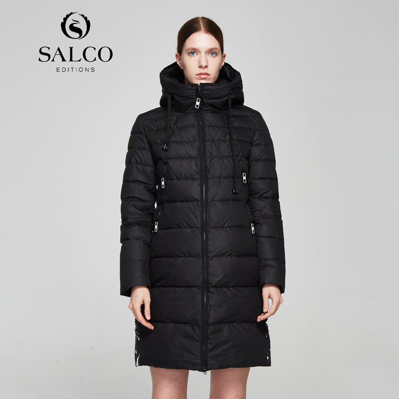 SALCO Free shipping In 2017, the latest women's high-end cotton jacket will be a long, warm, and long printed cotton jacket цены