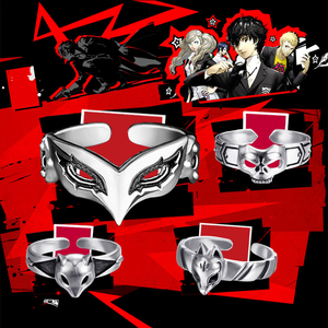 Image 1 - Game Anime Persona 5 P5 Joker Persona Mask Ring S925 Sliver Protagonist Eye Wolf Rings Women Men Animal Ring Cosplay Jewelry