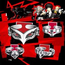 Gra Anime Persona 5 P5 Joker Persona maska pierścień S925 Sliver bohater oko wilk pierścienie kobiety mężczyźni zwierząt pierścień Cosplay biżuteria