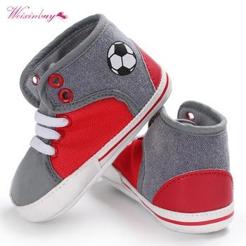 Fashion Newborn Baby Boy Shoes First Walkers Football Printed Soft Canvas Shoes Prewalker Toddler Kids Bebe Shoes 2 Colors conjuntos casuales para niñas