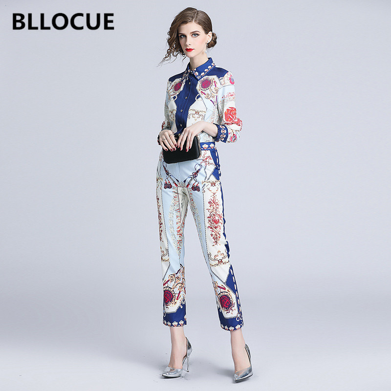 BLLOCUE High Quality New Fashion 2018 Autumn Runway Suit Set 2 Piece Set Women Vintage Print Long Sleeve Shirt Blouse+Pencil Pan-in Women's Sets from Women's Clothing    1