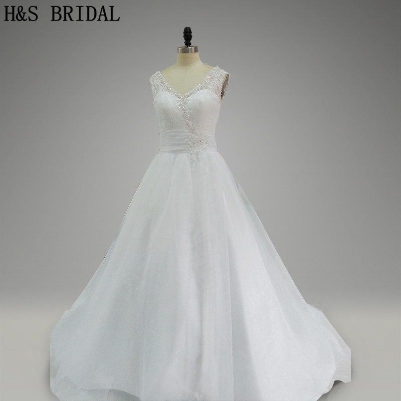 Real Model Long train organza and lace romantic bridal dress white elegance beading V back wedding dresses
