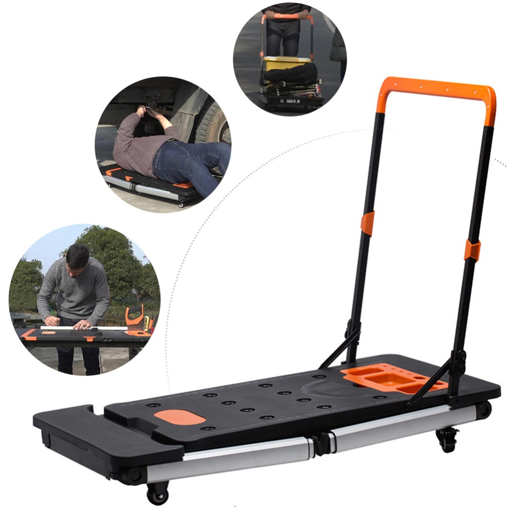 7-in-1Folding Workbench Household & DIY Work Station Car Creeper Platform Hand Truck Multi-Function Work Table