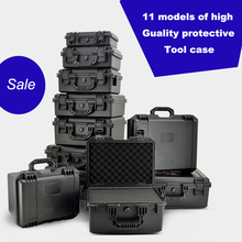High quality waterproof Plastic box Photographic instrument Tool case Hardware toolbox Impact resistant sealed with pre-cut foam ip67 waterproof shockproof black compressive durable toolbox with full cubes foam inserts