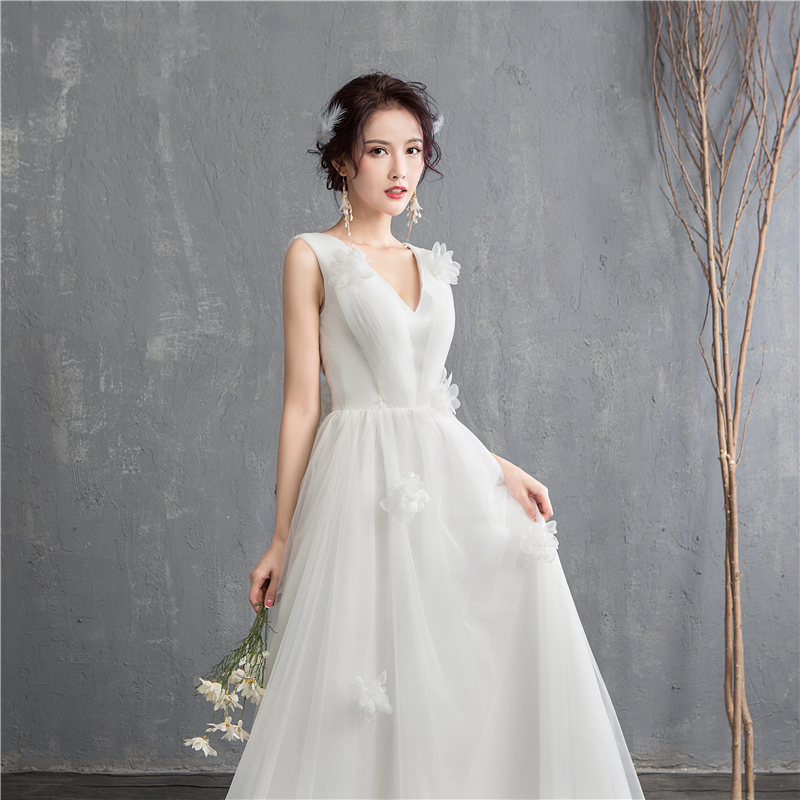 Image 4 - New Arrival Illusion korean style Tulle A Line Wedding Dress 2020  Double shoulder V neck Lace Bridal Dress Marriage Floor LengthWedding  Dresses