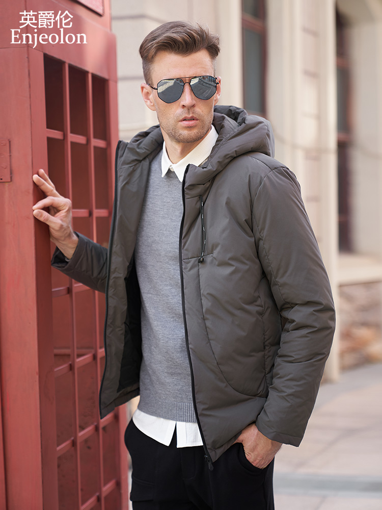 Enjeolon Model Winter Thicken Down Coat Males Hooded Jacket Males Gentle Down Parka Coat Males Hoodies Down Parka Jacket For Males Mf0101