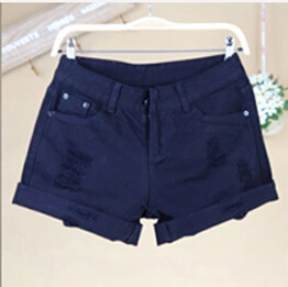 Новое поступление, летние популярные повседневные винтажные джинсовые шорты для женщин, белые, розовые, черные, большие размеры, хлопковые шорты свободного кроя, джинсы S3215 - Цвет: Черный