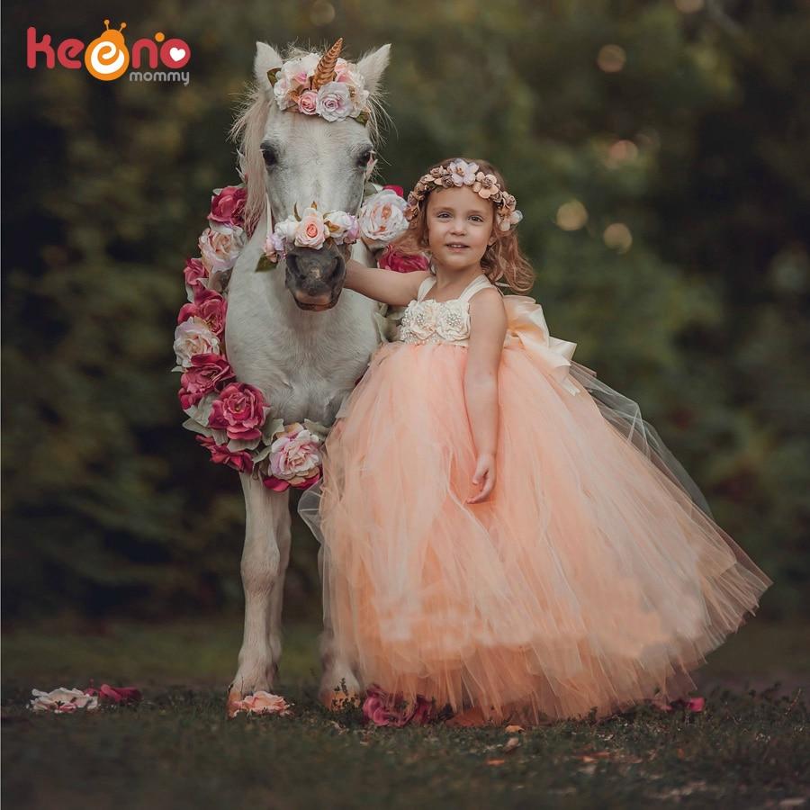 Handmade Fairy Peach Flower Girls Wedding Tutu Dress Princess Kids Ball Gown Dress for Girls Pageant Party Clothes Tulle Dress 1
