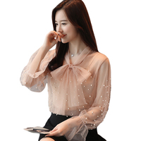 2018 New Spring Long Flare Sleeve Bow Tie Mesh Blouses Women Transparent Sexy Mesh Shirts Women
