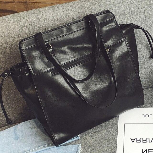 Women Tote Bag Black Soft Leather Handbag Leisure Shoulder Bags Large Capacity Female Las Working