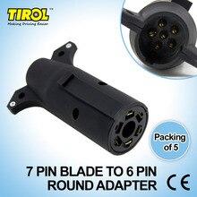 Tirol 7 Pin Blade TO 6PIN Round Trailer Adapter Trailer Light Plug Connector to 4 Pin Flat RV Towing T21850c Free Shipping