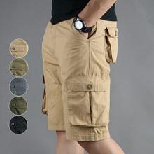 5XL Summer Men Tactical Shorts Men's Baggy Multi Pockets Military Zipper Cotton Cargo Shorts breeches Male Army Green Plus Size zipper fly flap pockets cargo shorts