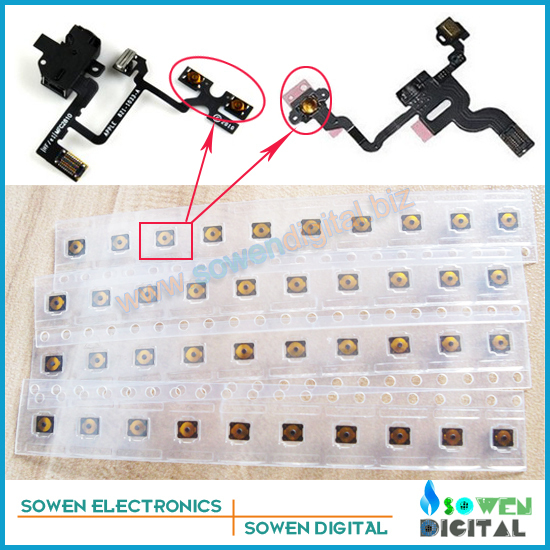 power sleep button micro spring piece terminal sticker for iphone 4 4s power flex headphone audio jack flex cable Free shipping
