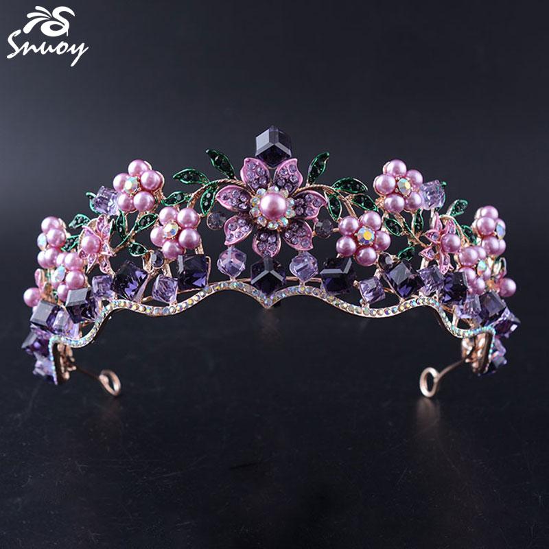 Snuoy esküvői tiaras és koronák a nők Charming Flower Purple / - Divatékszer