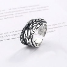 Silvology 925 Sterling Silver Weave Twine Line Rings Vintage Creative Industry Style Japan for Women Retro Jewelry