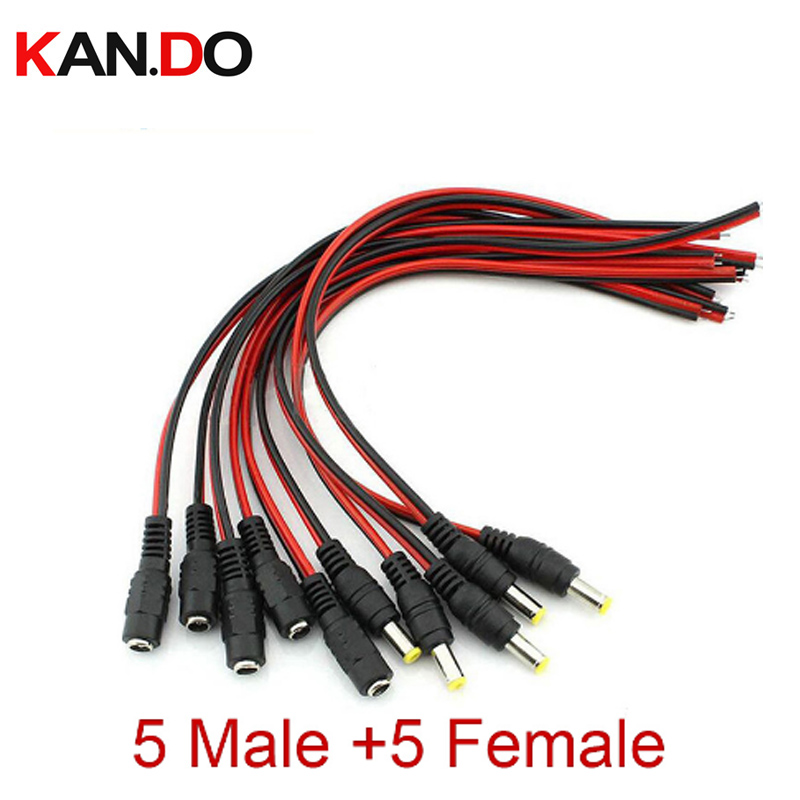 10pcs/Lot 2.1x5.5 Mm Male Female Plug 12V Dc Power Pigtail Cable Jack For Cctv Camera Connector Tail Extension 12V DC Wire