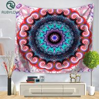 Colorful Indian Mandala Tapestry Wall Hanging Multifunctional Tapestry Printed Bedspread Cover Yoga Mat Blanket Picnic Cloth