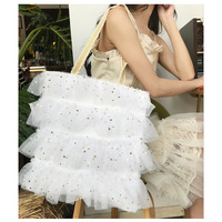 Cotton Canvas Eco Shopping Tote Shoulder Bag Pink White Drape Paillette Trim CYA36