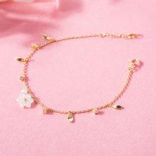 ba288cfa2239 Japanischen Stil Licht Luxus 925 Silber Gold Weiß Rüben Blätter Zirkon Weiß  Kristall Shell Blume Mädchen